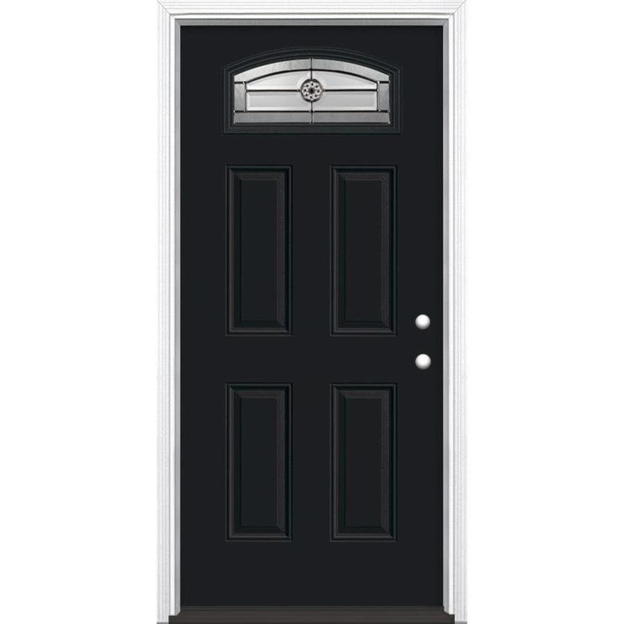 Masonite Elan 4-Panel Insulating Core Morelight Left-Hand Inswing Peppercorn Fiberglass Painted Prehung Entry Door (Common: 36-in x 80-in; Actual: 37.5-in x 81.5-in)