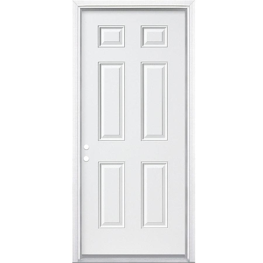 Masonite Right-Hand Inswing Primed Steel Prehung Entry Door with Insulating Core (Common: 30-in x 78-in; Actual: 31.5-in x 81.625-in)