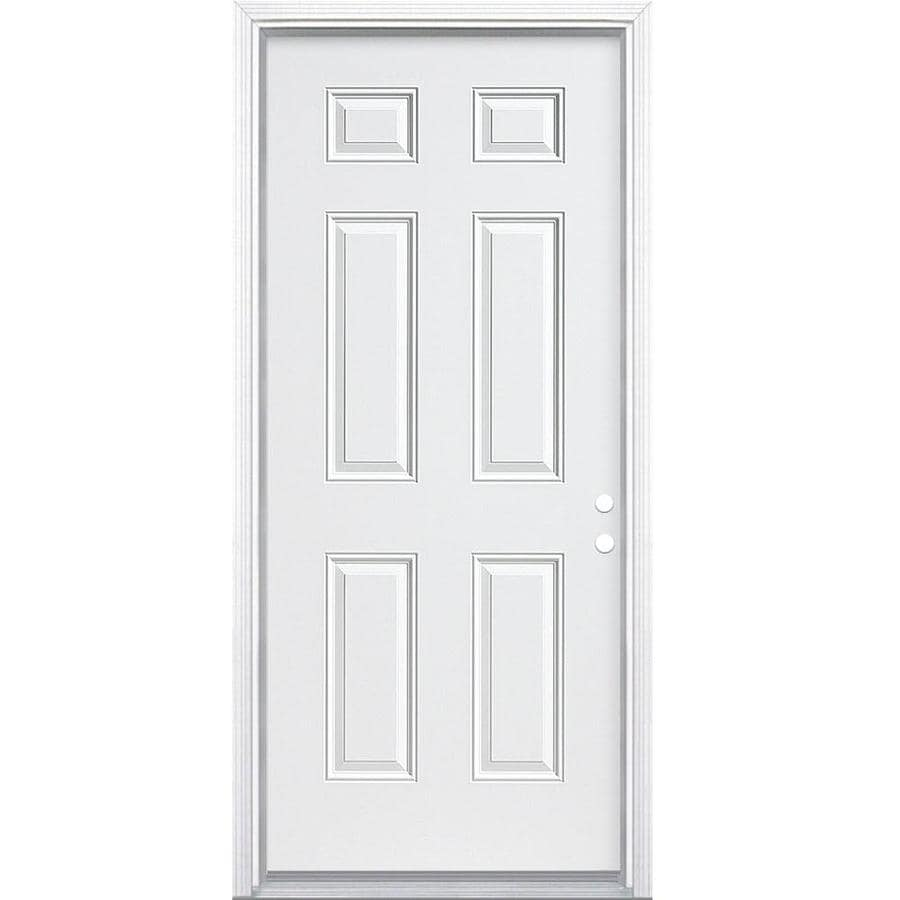 Masonite 6-Panel Insulating Core Left-Hand Inswing Steel Primed Prehung Entry Door (Common: 30-in x 80-in; Actual: 31.5-in x 81.5-in)
