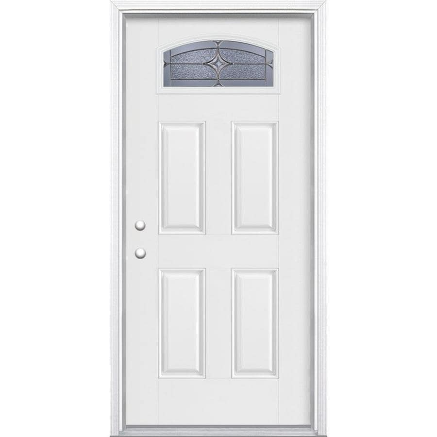 Masonite Astrid Decorative Glass Right-Hand Inswing Arctic White Painted Fiberglass Prehung Entry Door with Insulating Core (Common: 36-in x 80-in; Actual: 37.5-in x 81.625-in)