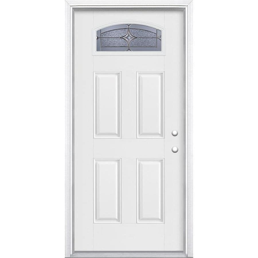 Masonite Astrid Decorative Glass Left-Hand Inswing Arctic White Painted Fiberglass Prehung Entry Door with Insulating Core (Common: 36-in x 80-in; Actual: 37.5-in x 81.625-in)