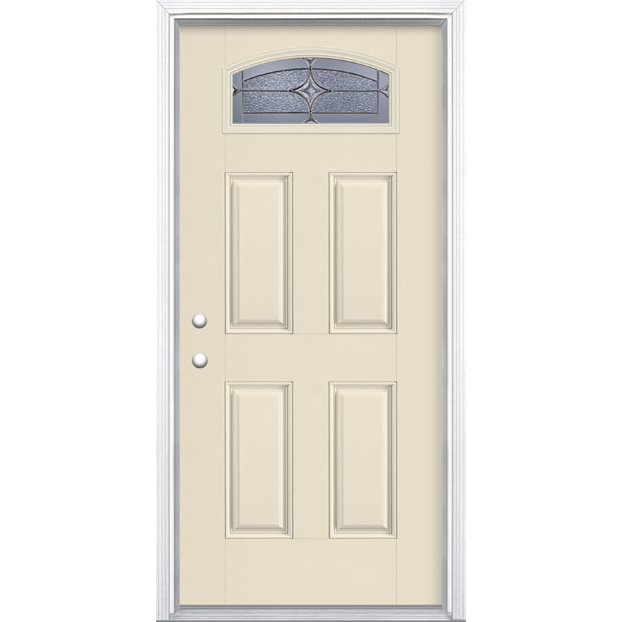 Masonite Astrid Decorative Glass Right-Hand Inswing Bisque Fiberglass Painted Entry Door (Common: 36-in x 80-in; Actual: 37.5-in x 81.5-in)