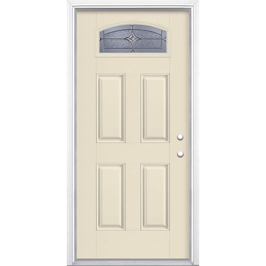 Masonite Astrid Decorative Glass Left-Hand Inswing Bisque Painted Fiberglass Prehung Entry Door with Insulating Core (Common: 36-in x 80-in; Actual: 37.5-in x 81.625-in)