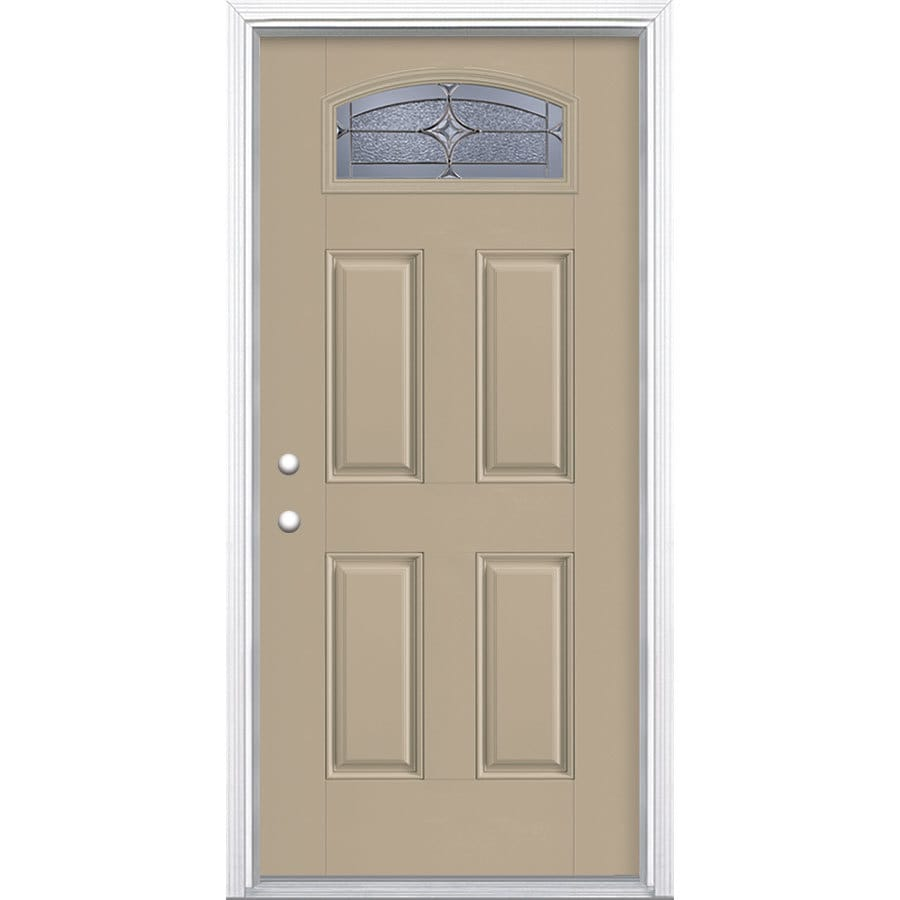 Masonite Astrid Decorative Glass Right-Hand Inswing Sandy Shore Painted Fiberglass Prehung Entry Door with Insulating Core (Common: 36-in x 80-in; Actual: 37.5-in x 81.625-in)