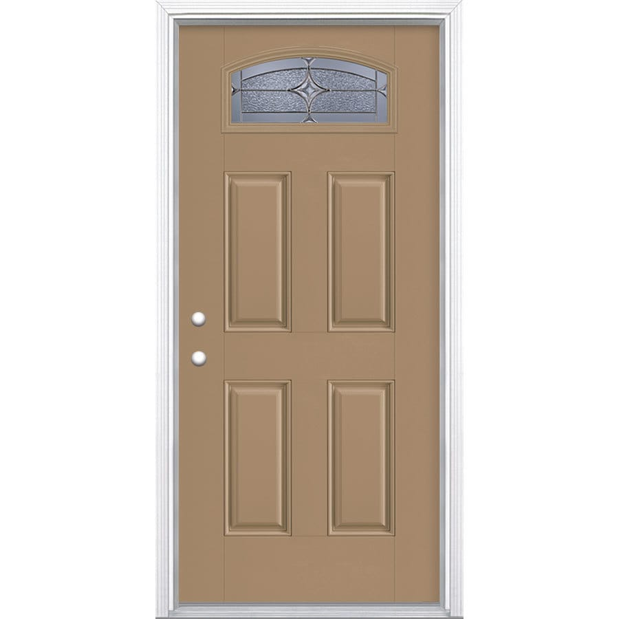 Masonite Astrid Decorative Glass Right-Hand Inswing Warm Wheat Fiberglass Painted Entry Door (Common: 36-in x 80-in; Actual: 37.5-in x 81.5-in)