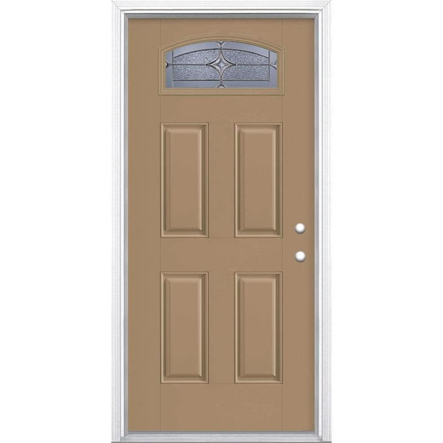 Masonite Astrid 1/4 Lite Decorative Glass Left-Hand Inswing Warm Wheat Painted Fiberglass Prehung Entry Door Insulating Core (Common: 36-in X 80-in; Actual: 37.5-in x 81.625-in)