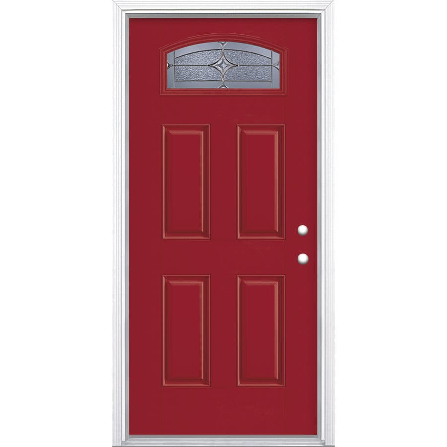 Masonite Astrid Decorative Glass Left-Hand Inswing Roma Red Painted Fiberglass Prehung Entry Door with Insulating Core (Common: 36-in x 80-in; Actual: 37.5-in x 81.625-in)