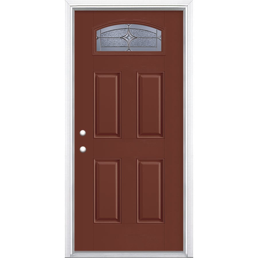 Masonite Astrid 1/4 Lite Decorative Glass Right-Hand Inswing Fox Tail Painted Fiberglass Prehung Entry Door with Insulating Core (Common: 36-in X 80-in; Actual: 37.5-in x 81.625-in)