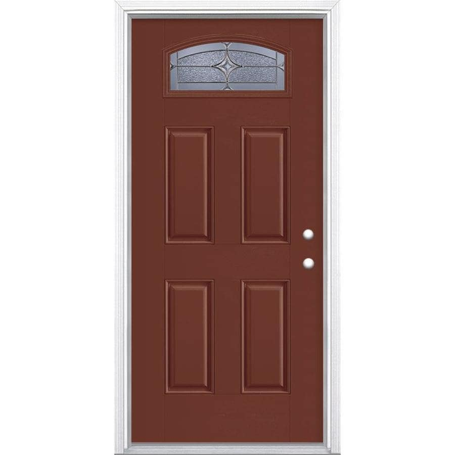 Masonite Astrid 4-Panel Insulating Core Morelight Left-Hand Inswing Fox Tail Fiberglass Painted Prehung Entry Door (Common: 36-in x 80-in; Actual: 37.5-in x 81.5-in)