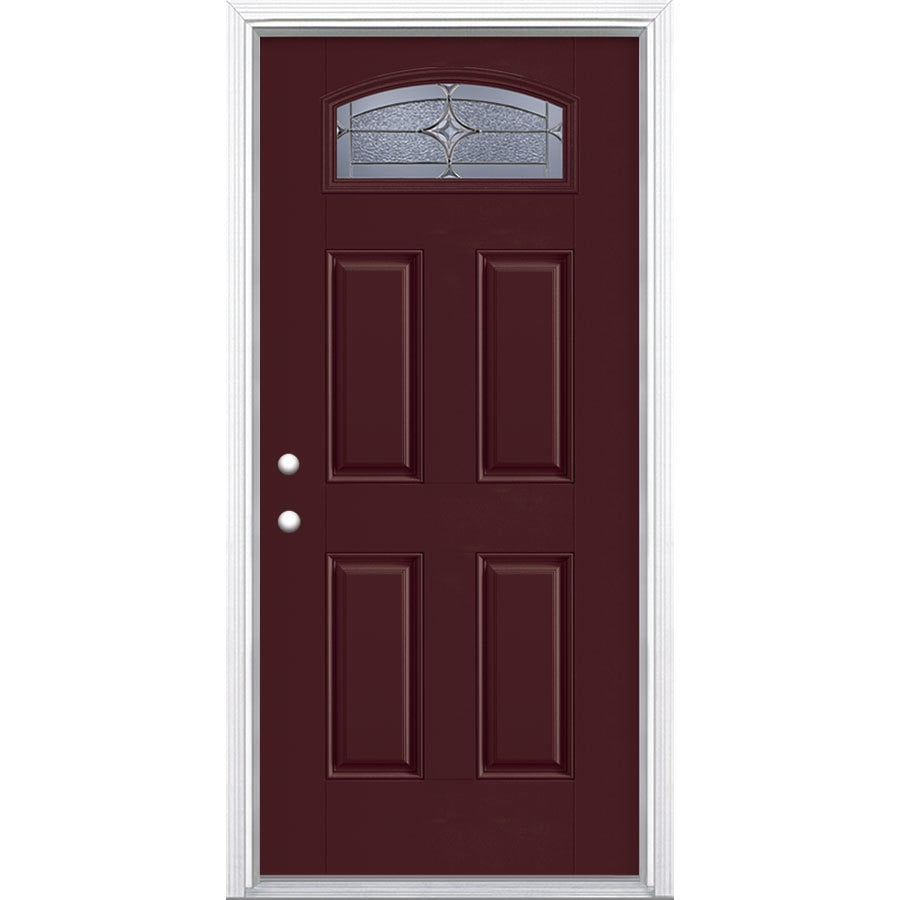 Masonite Astrid 1/4 Lite Decorative Glass Right-Hand Inswing Currant Painted Fiberglass Prehung Entry Door with Insulating Core (Common: 36-in X 80-in; Actual: 37.5-in x 81.625-in)