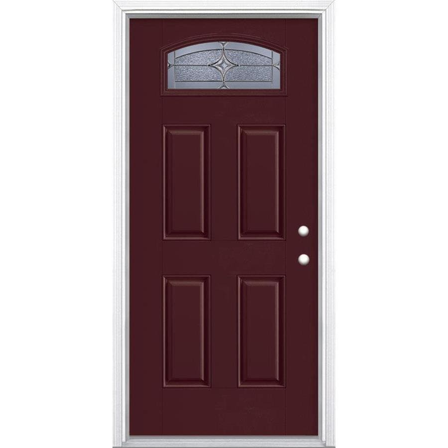 Masonite Astrid 4-Panel Insulating Core Morelight Left-Hand Inswing Currant Fiberglass Painted Prehung Entry Door (Common: 36-in x 80-in; Actual: 37.5-in x 81.5-in)