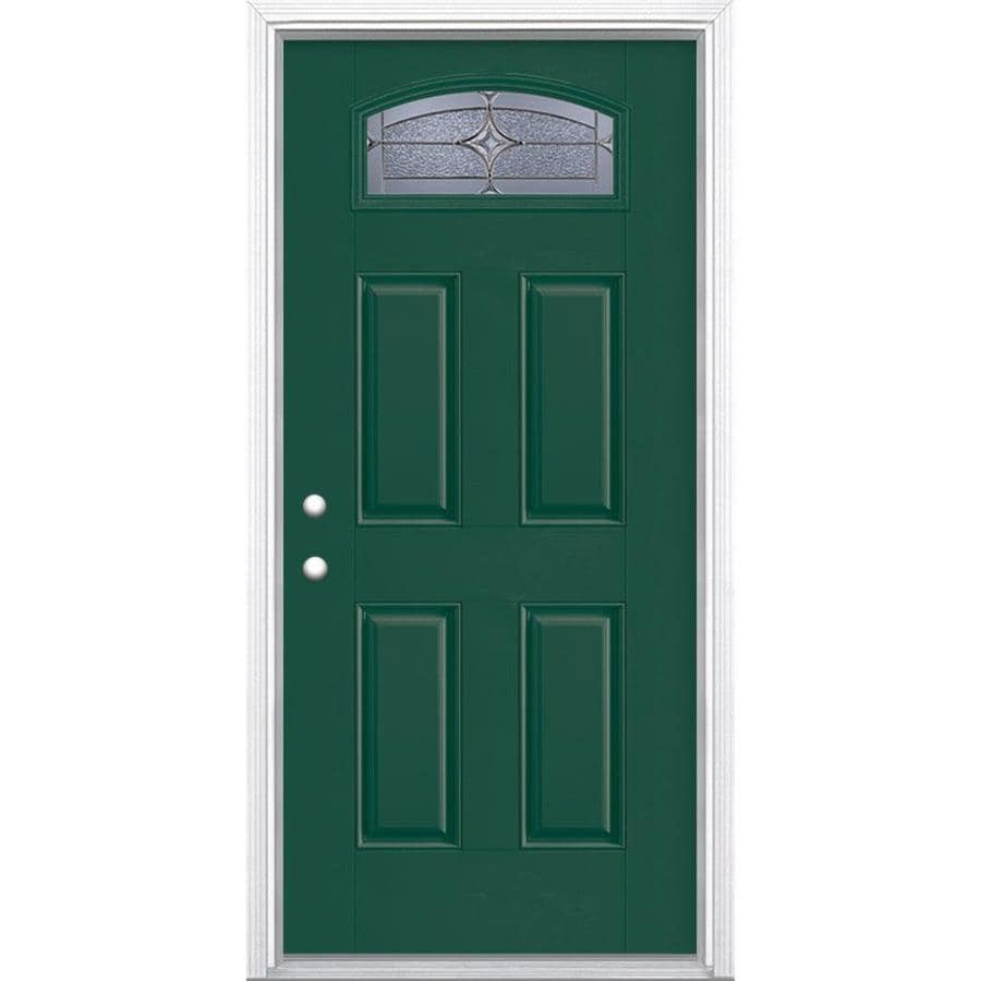 Masonite Astrid Decorative Glass Right-Hand Inswing Evergreen Painted Fiberglass Prehung Entry Door with Insulating Core (Common: 36-in x 80-in; Actual: 37.5-in x 81.625-in)