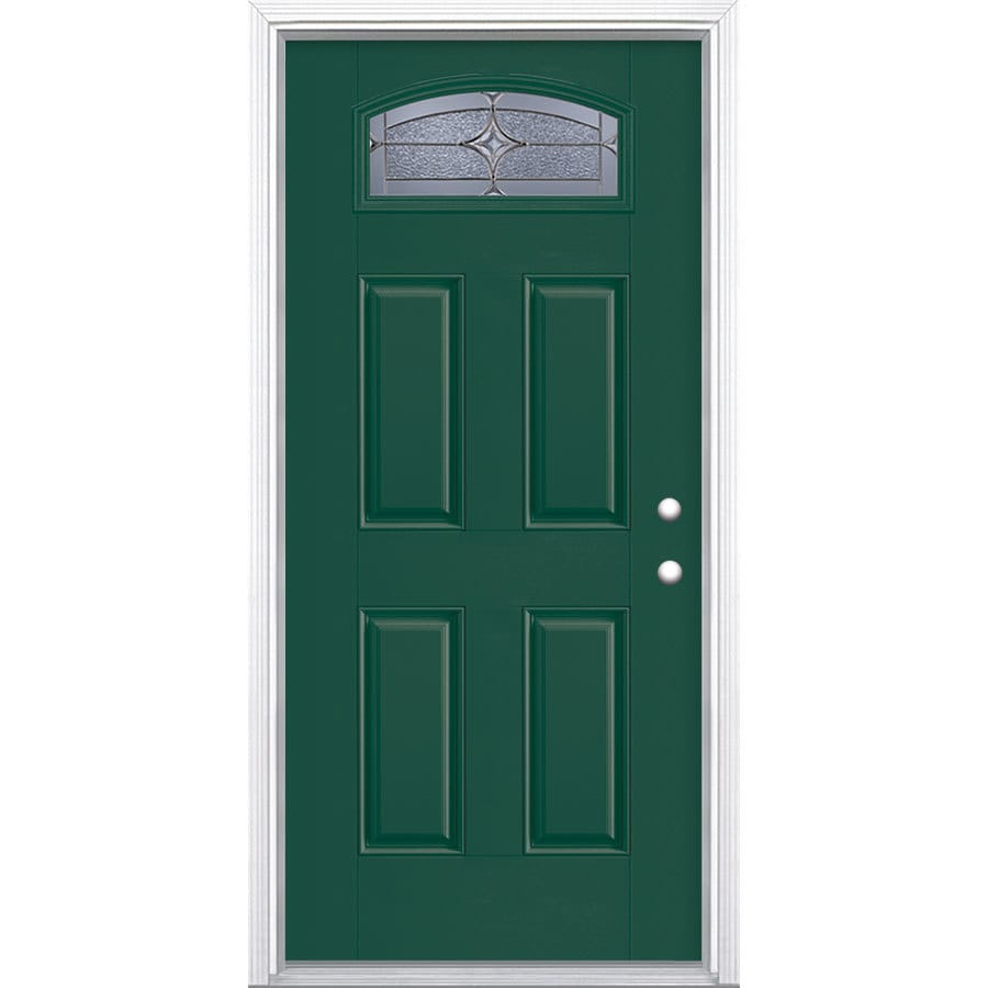 Shop Masonite Astrid Decorative Glass Left Hand Inswing Evergreen Fiberglass Painted Entry Door