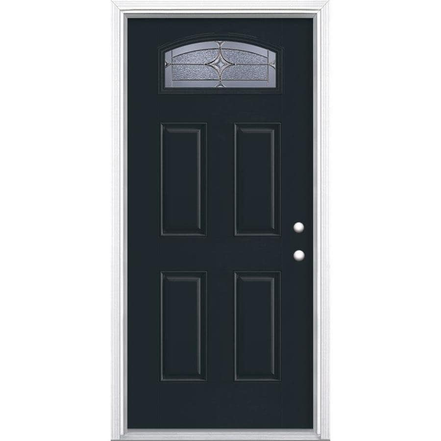 Masonite Astrid 1/4 Lite Decorative Glass Left-Hand Inswing Eclipse Painted Fiberglass Prehung Entry Door with Insulating Core (Common: 36-in X 80-in; Actual: 37.5-in x 81.625-in)