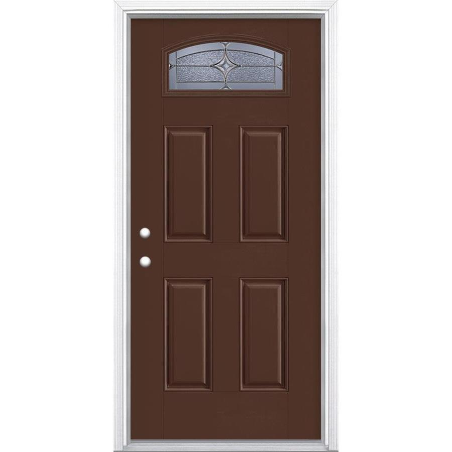 Masonite Astrid 4-panel Insulating Core Morelight Right-Hand Inswing Chocolate Fiberglass Painted Prehung Entry Door (Common: 36-in x 80-in; Actual: 37.5-in x 81.5-in)