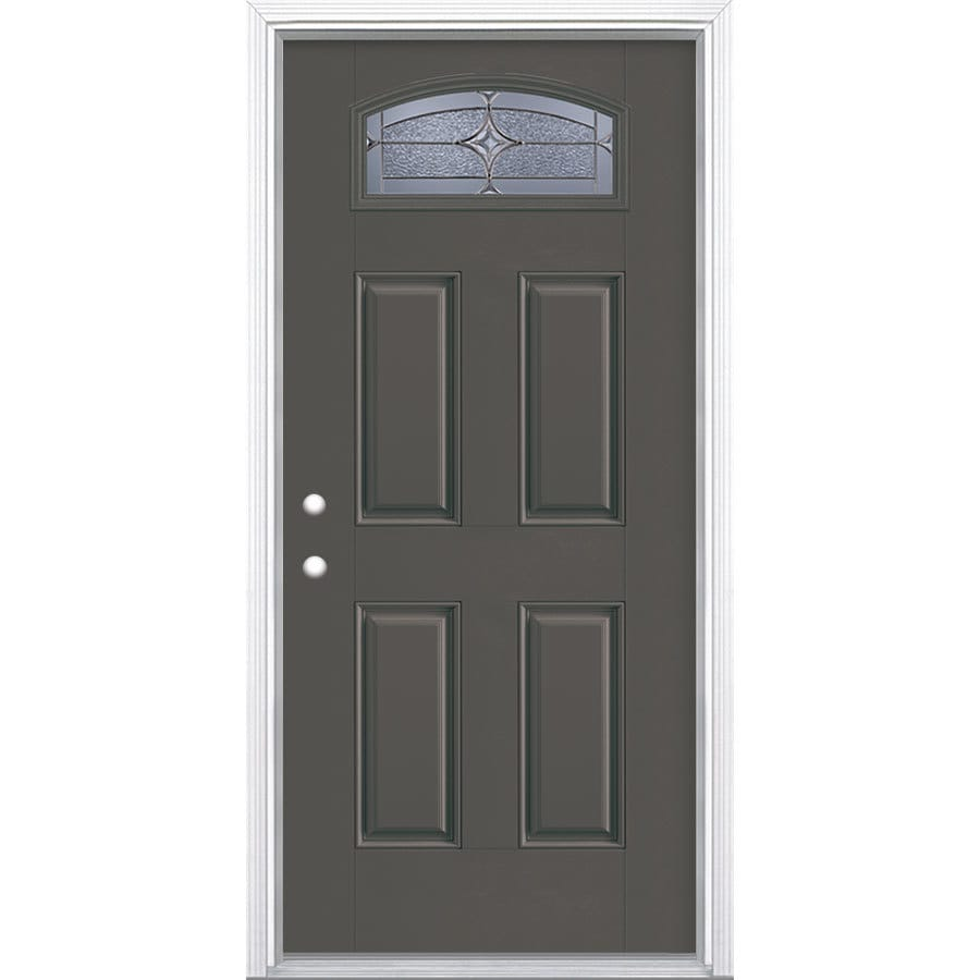 Masonite Astrid 4-Panel Insulating Core Morelight Right-Hand Inswing Timber Gray Fiberglass Painted Prehung Entry Door (Common: 36-in x 80-in; Actual: 37.5-in x 81.5-in)