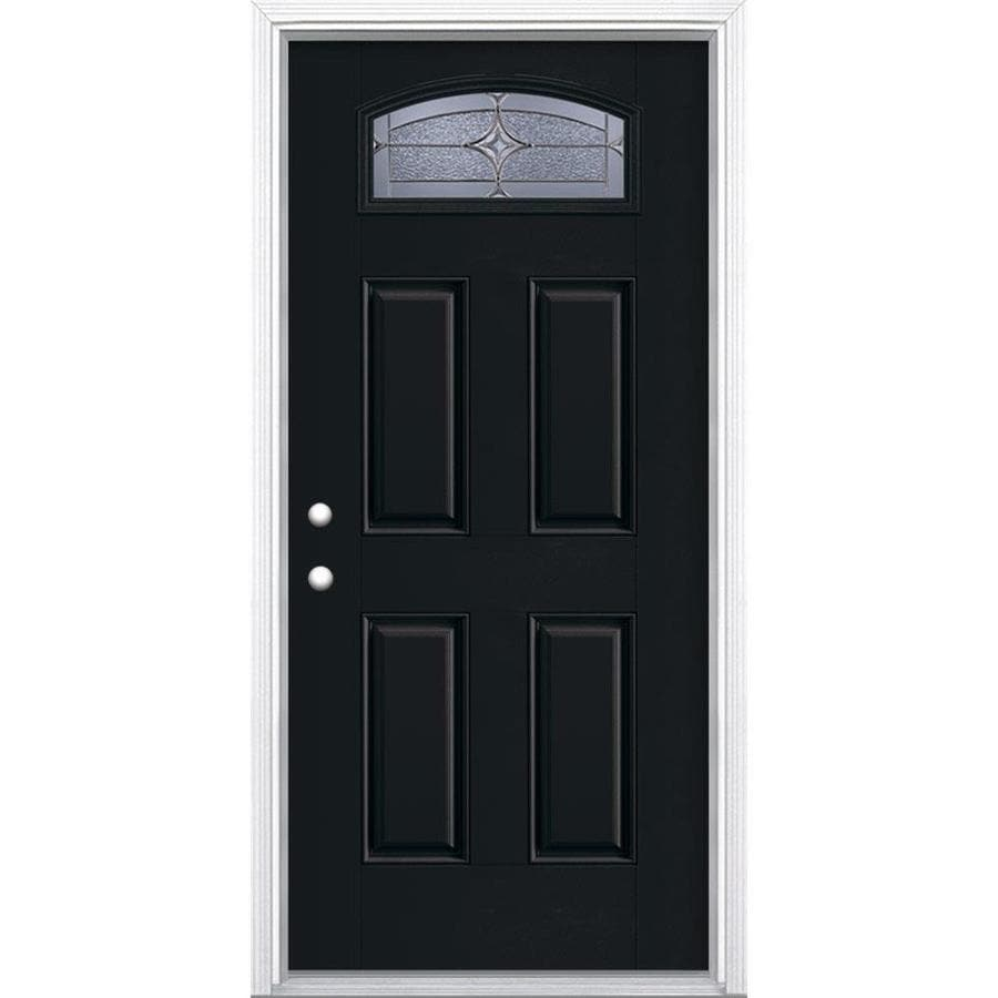 Masonite Astrid Decorative Glass Right-Hand Inswing Peppercorn Painted Fiberglass Prehung Entry Door with Insulating Core (Common: 36-in x 80-in; Actual: 37.5-in x 81.625-in)
