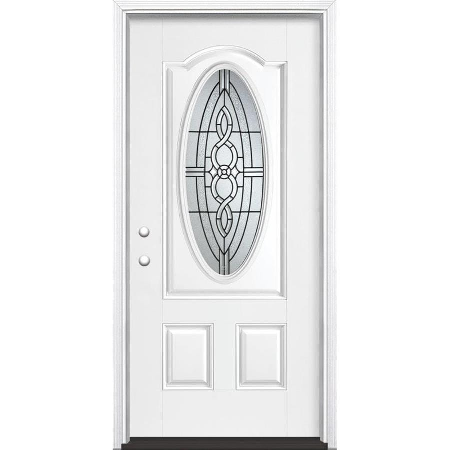 Masonite Calista Decorative Glass Right-Hand Inswing Arctic White Painted Fiberglass Prehung Entry Door with Insulating Core (Common: 36-in x 80-in; Actual: 37.5-in x 81.625-in)