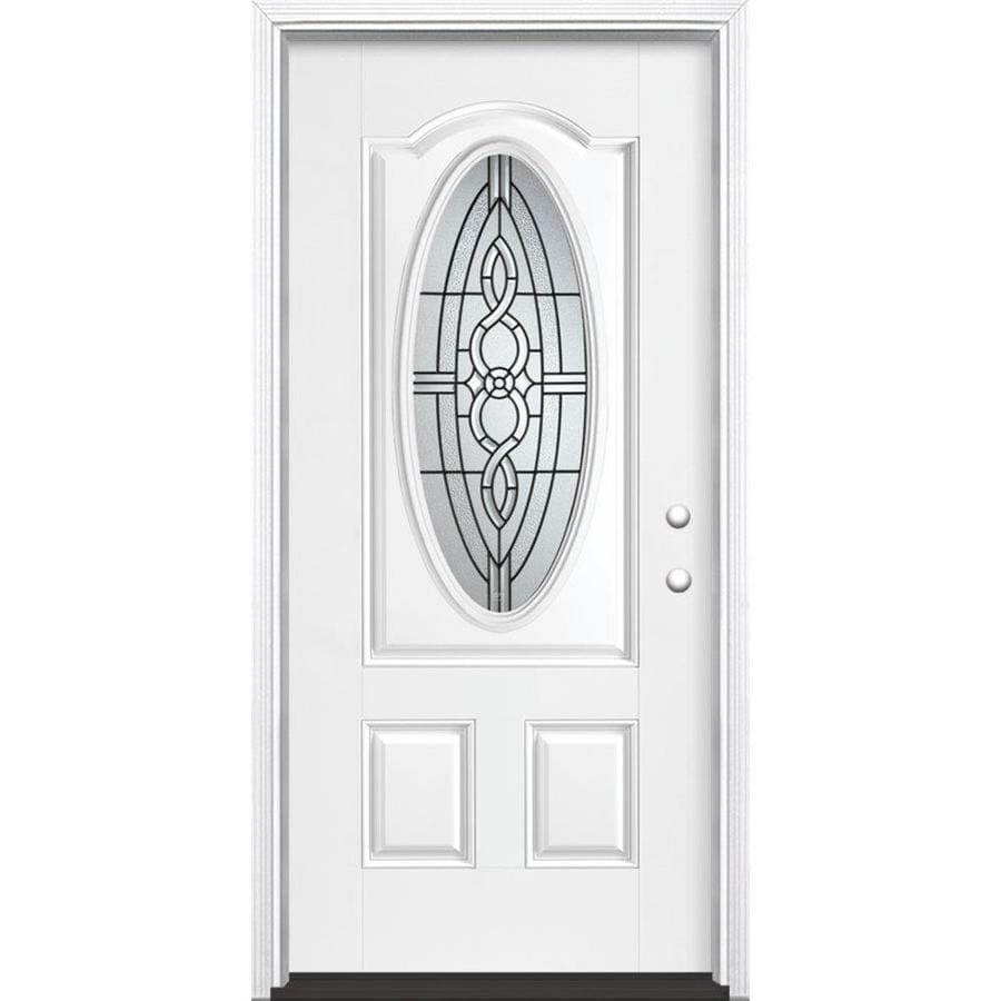 Masonite Calista Decorative Glass Left-Hand Inswing Arctic White Painted Fiberglass Prehung Entry Door with Insulating Core (Common: 36-in x 80-in; Actual: 37.5-in x 81.625-in)