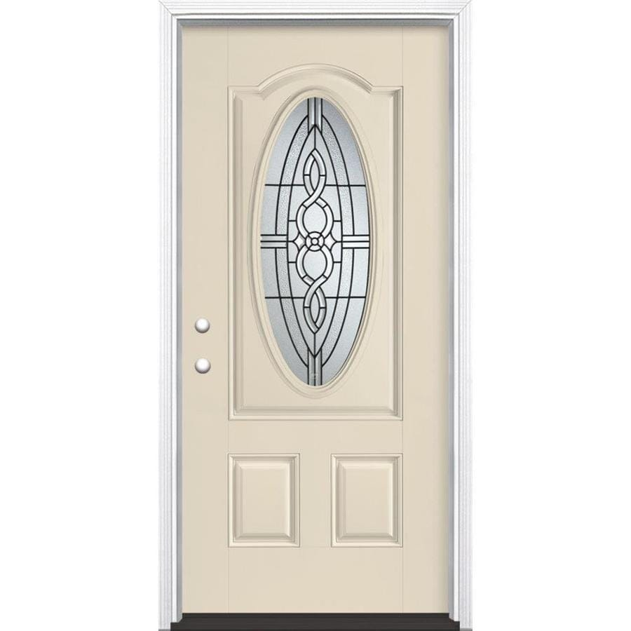 Masonite Calista Decorative Glass Right-Hand Inswing Bisque Painted Fiberglass Prehung Entry Door with Insulating Core (Common: 36-in x 80-in; Actual: 37.5-in x 81.625-in)