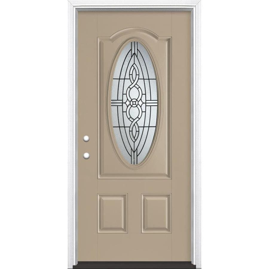 Masonite Calista Decorative Glass Right-Hand Inswing Sandy Shore Painted Fiberglass Prehung Entry Door with Insulating Core (Common: 36-in x 80-in; Actual: 37.5-in x 81.625-in)