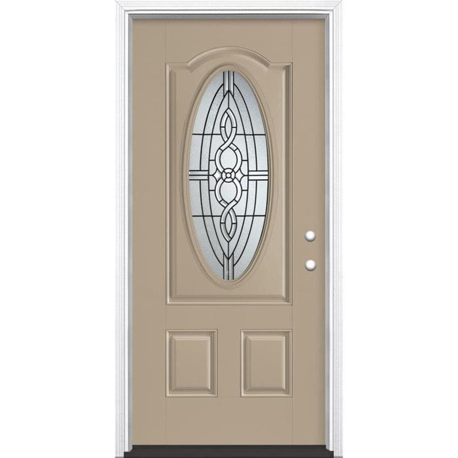 Masonite Calista Decorative Glass Left-Hand Inswing Sandy Shore Painted Fiberglass Prehung Entry Door with Insulating Core (Common: 36-in x 80-in; Actual: 37.5-in x 81.625-in)