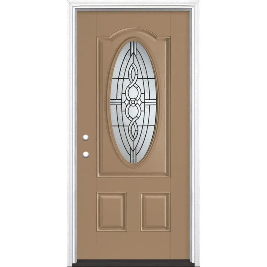 Masonite Calista Decorative Glass Right-Hand Inswing Warm Wheat Painted Fiberglass Prehung Entry Door with Insulating Core (Common: 36-in x 80-in; Actual: 37.5-in x 81.625-in)