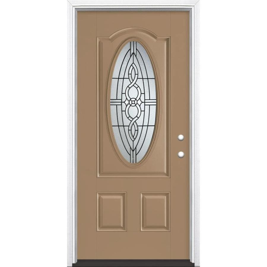 Masonite Calista 3-Panel Insulating Core Oval Lite Left-Hand Inswing Warm Wheat Fiberglass Painted Prehung Entry Door (Common: 36-in x 80-in; Actual: 37.5-in x 81.5-in)