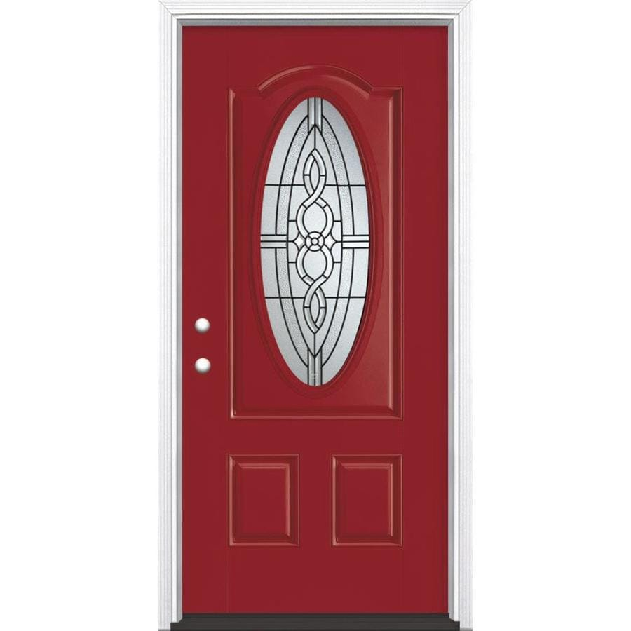 Masonite Calista Decorative Glass Right-Hand Inswing Roma Red Painted Fiberglass Prehung Entry Door with Insulating Core (Common: 36-in x 80-in; Actual: 37.5-in x 81.625-in)