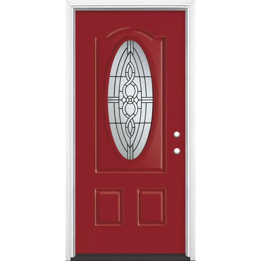 Masonite Calista Decorative Glass Left-Hand Inswing Roma Red Fiberglass Painted Entry Door (Common: 36-in x 80-in; Actual: 37.5-in x 81.5-in)