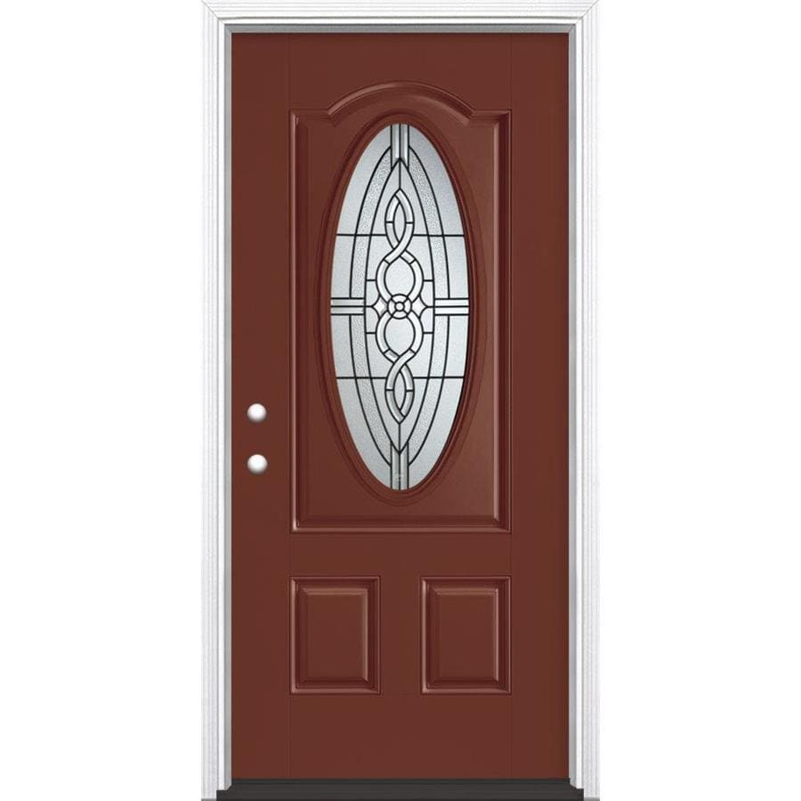 Masonite Calista Decorative Glass Right-Hand Inswing Fox Tail Painted Fiberglass Prehung Entry Door with Insulating Core (Common: 36-in x 80-in; Actual: 37.5-in x 81.625-in)