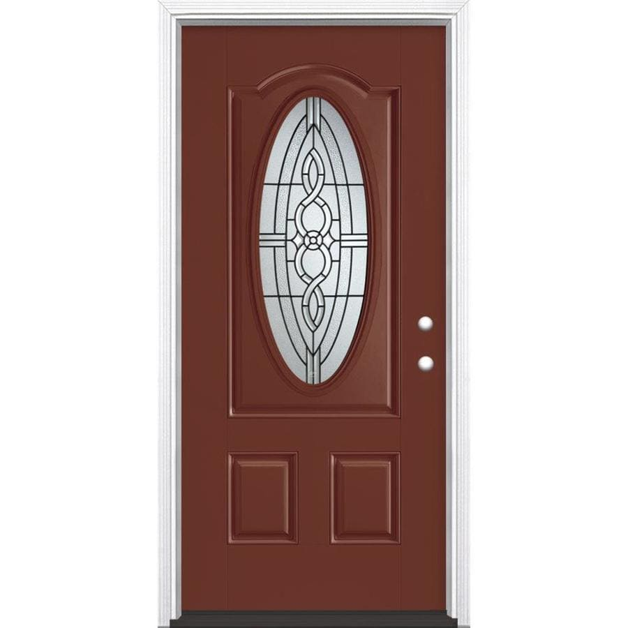 Masonite Calista Decorative Glass Left-Hand Inswing Fox Tail Painted Fiberglass Prehung Entry Door with Insulating Core (Common: 36-in x 80-in; Actual: 37.5-in x 81.625-in)
