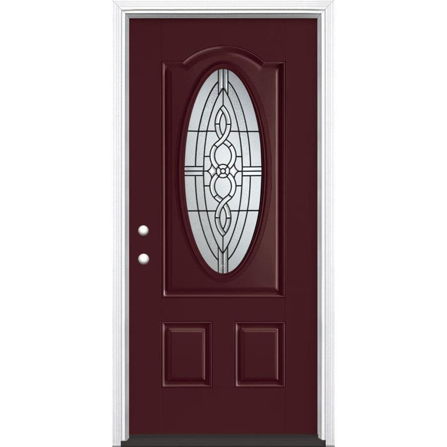 Masonite Calista Decorative Glass Right-Hand Inswing Currant Painted Fiberglass Prehung Entry Door with Insulating Core (Common: 36-in x 80-in; Actual: 37.5-in x 81.625-in)