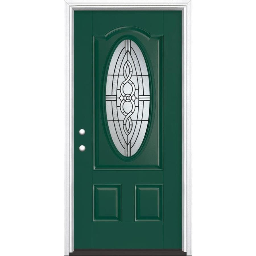 Masonite Calista Decorative Glass Right-Hand Inswing Evergreen Fiberglass Painted Entry Door (Common: 36-in x 80-in; Actual: 37.5-in x 81.5-in)