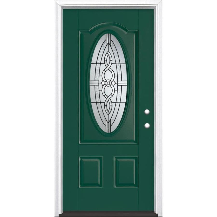 Masonite Calista Decorative Glass Left-Hand Inswing Evergreen Fiberglass Painted Entry Door (Common: 36-in x 80-in; Actual: 37.5-in x 81.5-in)