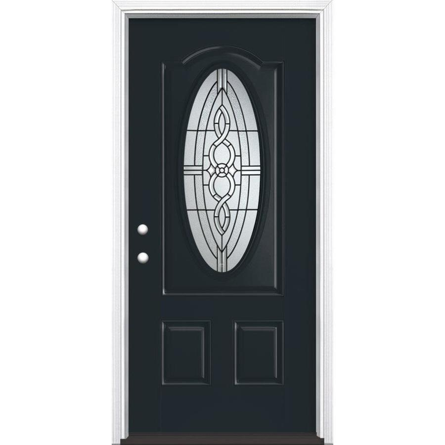 Masonite Calista Decorative Glass Right-Hand Inswing Eclipse Fiberglass Painted Entry Door (Common: 36-in x 80-in; Actual: 37.5-in x 81.5-in)