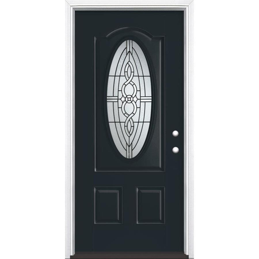 Masonite Calista Decorative Glass Left-Hand Inswing Eclipse Painted Fiberglass Prehung Entry Door with Insulating Core (Common: 36-in x 80-in; Actual: 37.5-in x 81.625-in)