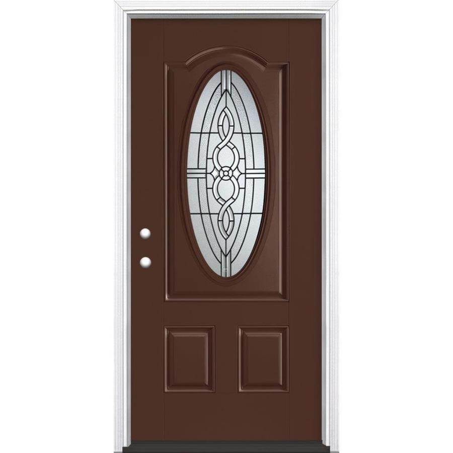 Masonite Calista Decorative Glass Right-Hand Inswing Chocolate Painted Fiberglass Prehung Entry Door with Insulating Core (Common: 36-in x 80-in; Actual: 37.5-in x 81.625-in)