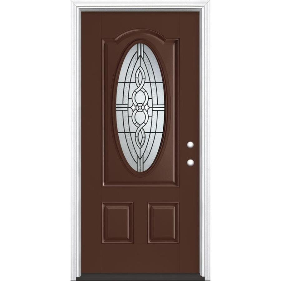 Masonite Calista 3-Panel Insulating Core Oval Lite Left-Hand Inswing Chocolate Fiberglass Painted Prehung Entry Door (Common: 36-in x 80-in; Actual: 37.5-in x 81.5-in)