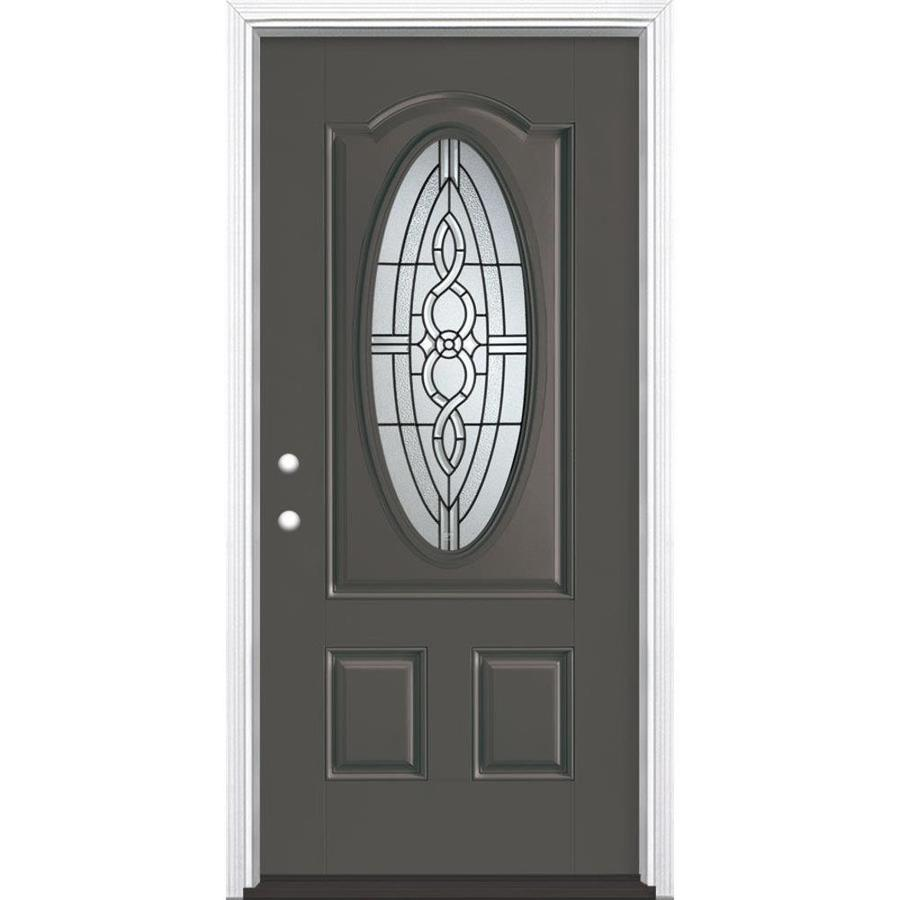 Masonite Calista Decorative Glass Right-Hand Inswing Timber Gray Fiberglass Painted Entry Door (Common: 36-in x 80-in; Actual: 37.5-in x 81.5-in)