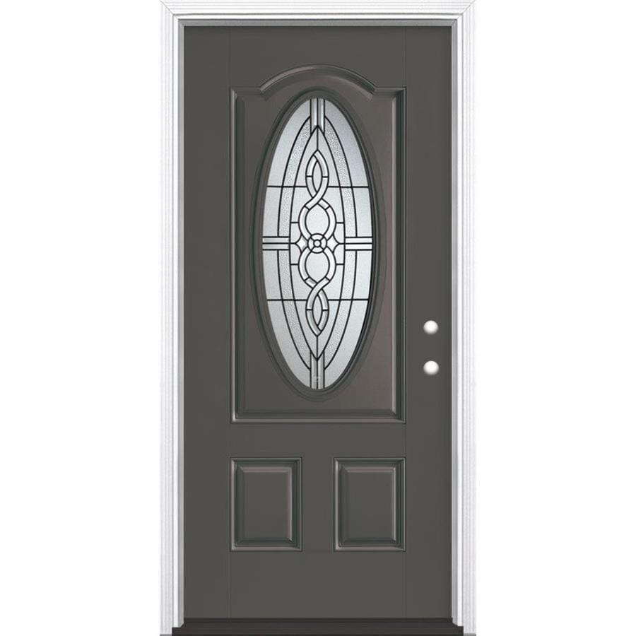 Masonite Calista Decorative Glass Left-Hand Inswing Timber Gray Painted Fiberglass Prehung Entry Door with Insulating Core (Common: 36-in x 80-in; Actual: 37.5-in x 81.625-in)