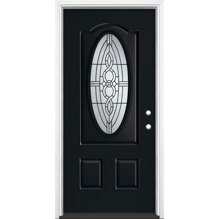 Masonite Calista Decorative Glass Left-Hand Inswing Peppercorn Painted Fiberglass Prehung Entry Door with Insulating Core (Common: 36-in x 80-in; Actual: 37.5-in x 81.625-in)