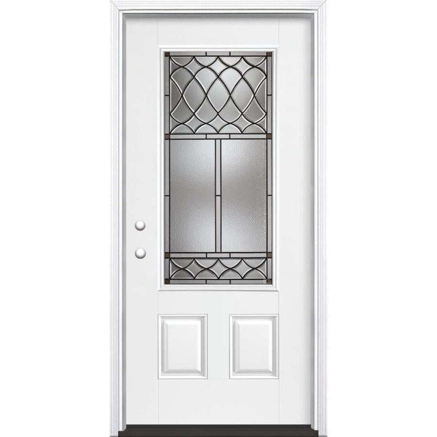Masonite Sheldon Decorative Glass Right-Hand Inswing Arctic White Painted Fiberglass Prehung Entry Door with Insulating Core (Common: 36-in x 80-in; Actual: 37.5-in x 81.625-in)