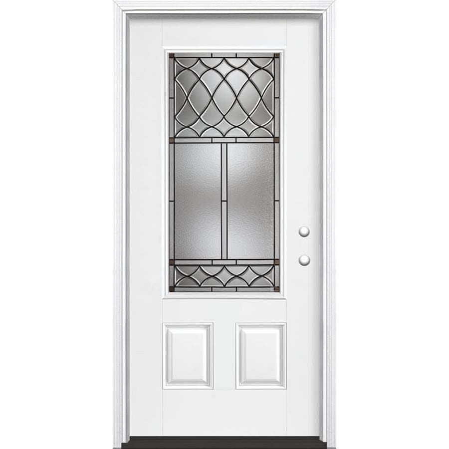 Masonite Sheldon Decorative Glass Left-Hand Inswing Arctic White Painted Fiberglass Prehung Entry Door with Insulating Core (Common: 36-in x 80-in; Actual: 37.5-in x 81.625-in)