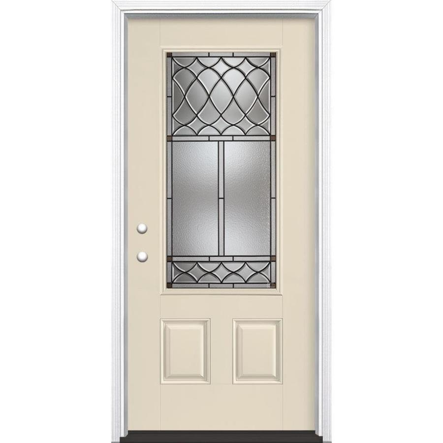 Masonite Sheldon Decorative Glass Right-Hand Inswing Bisque Painted Fiberglass Prehung Entry Door with Insulating Core (Common: 36-in x 80-in; Actual: 37.5-in x 81.625-in)