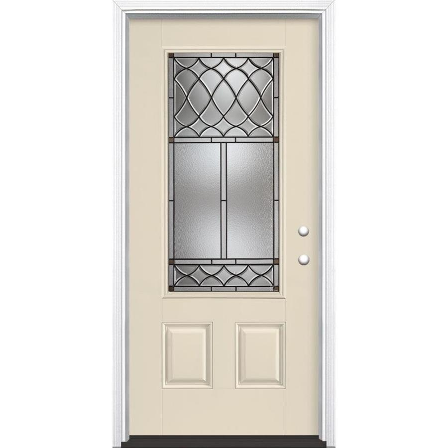Masonite Sheldon Left-Hand Inswing Bisque Painted Fiberglass Entry Door with Insulating Core (Common: 36-in x 80-in; Actual: 37.5-in x 81.5-in)