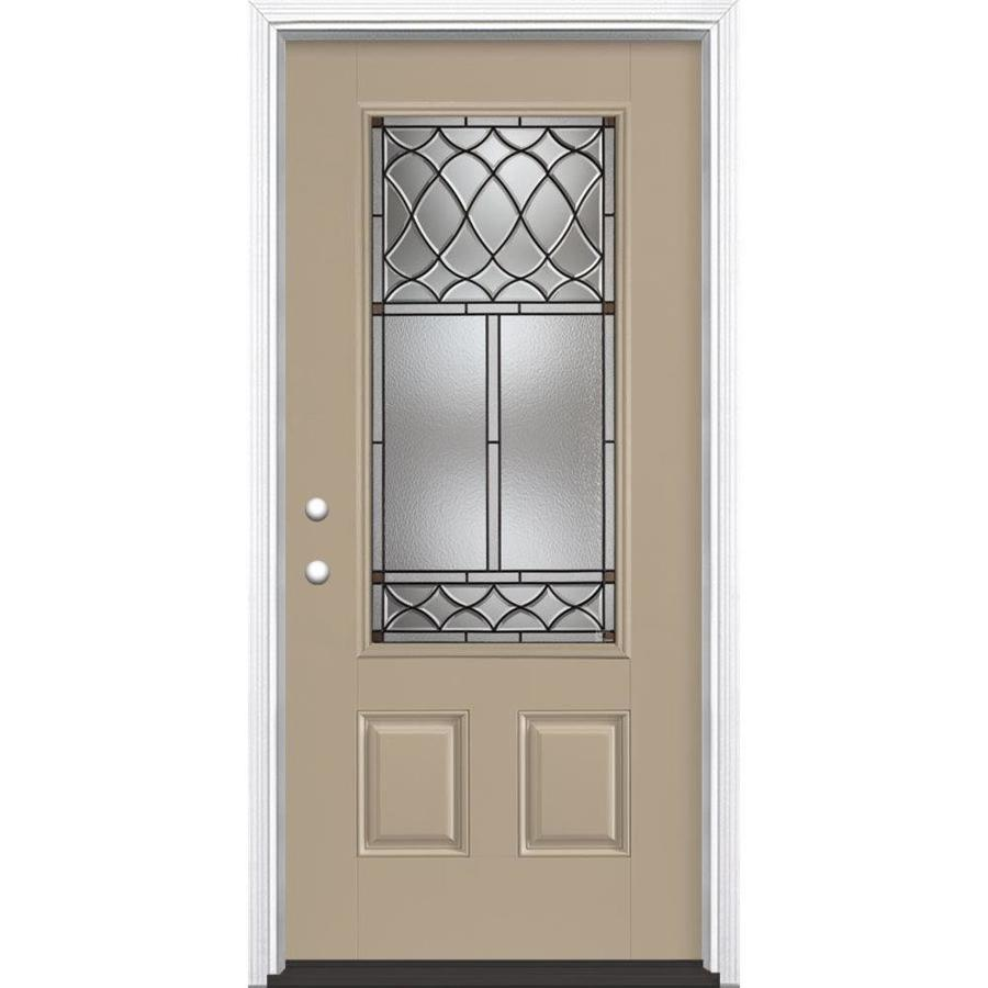 Masonite Sheldon Decorative Glass Right-Hand Inswing Sandy Shore Fiberglass Painted Entry Door (Common: 36-in x 80-in; Actual: 37.5-in x 81.5-in)
