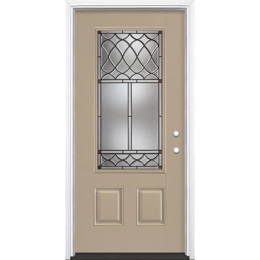 Masonite Sheldon Decorative Glass Left-Hand Inswing Sandy Shore Painted Fiberglass Prehung Entry Door with Insulating Core (Common: 36-in x 80-in; Actual: 37.5-in x 81.625-in)