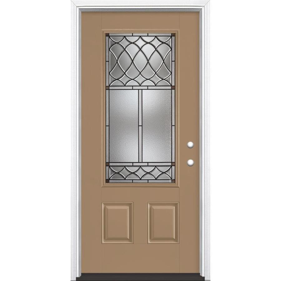 Masonite Sheldon 3-Panel Insulating Core 3/4 Lite Left-Hand Inswing Warm Wheat Fiberglass Painted Prehung Entry Door (Common: 36-in x 80-in; Actual: 37.5-in x 81.5-in)