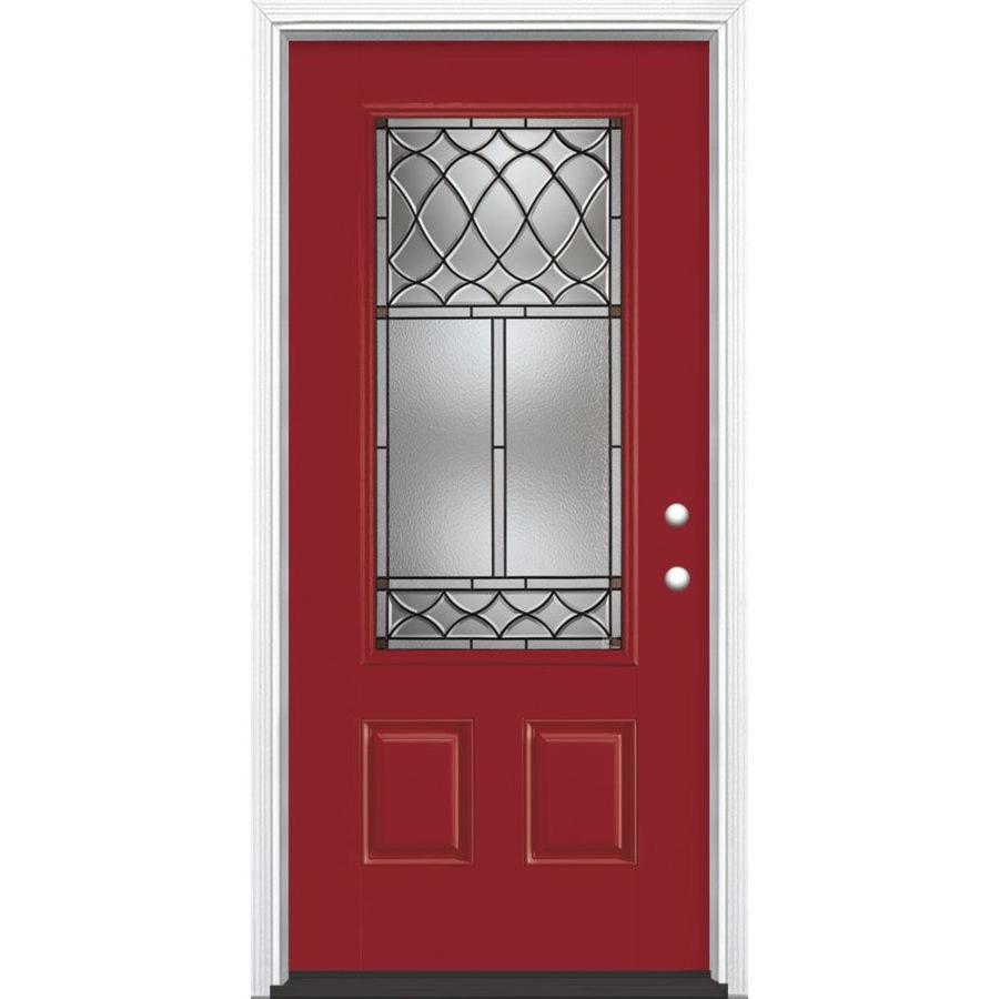 Masonite Sheldon 3-Panel Insulating Core 3/4 Lite Left-Hand Inswing Roma Red Fiberglass Painted Prehung Entry Door (Common: 36-in x 80-in; Actual: 37.5-in x 81.5-in)